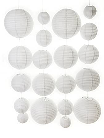 20 different sized paper lanterns and 20 free led lights white