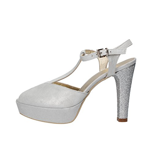 SERGIO CIMADAMORE sandali donna 36 EU argento pelle scamosciata glitter AF484-B