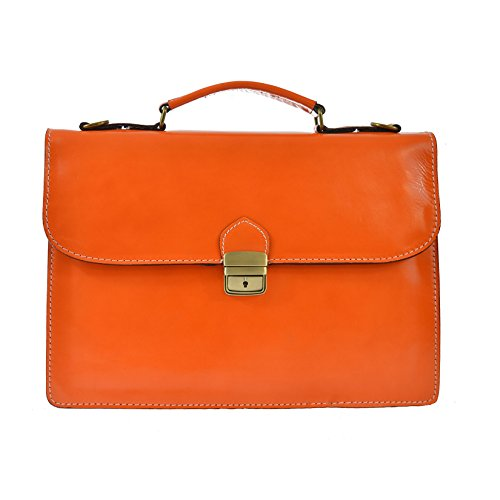 CTM Sac d'affaires de unisexe, Porte-documents en cuir véritable made in Italy D7004 - 38x27x7 Cm