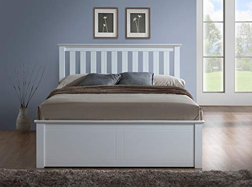 Happy Beds Phoenix Ottoman Bed White Finish Modern Frame Bedroom Comfort 4' Small Double 120 x 190 cm