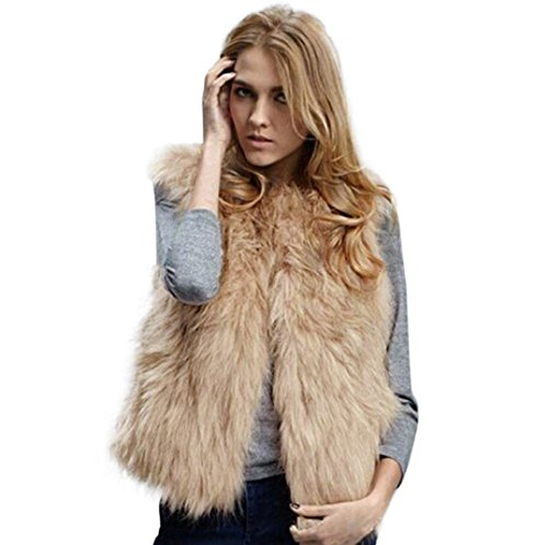 Kanpola Weste Damen Elegant Ärmellos mit Fell Mantel Oberbekleidung Jacke (M/38, Khaki) (Khaki : Kleidung Weste Damen)