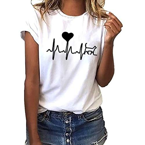 iHENGH Damen Top Bluse Lässig Mode T-Shirt Frühling Sommer Bequem Blusen Frauen Women Girls Plus Size Print Tees Shirt Short Sleeve T-Shirt Blouse Tops (Weiß, M) Velvet Lace Jacke
