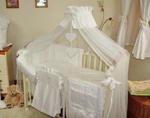 7PCS Baby Bettwäsche Set/Betthimmel/Himmelhalter/Bumper an Kinderbett (140x 70cm) weiß - Kinderbett Weiße Bettwäsche Stoßstange