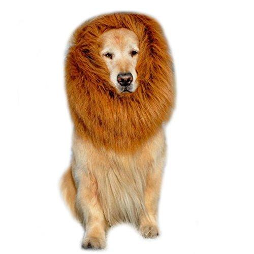 Kostuem Hund Loewenmaehne fuer Hunde Hundeschal Hund Halstuch Peruecke Verstellbar bis 70cm (Hunde Kostüm Für Löwe)