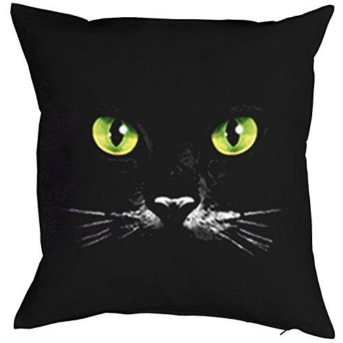 Schwarze Katze Katzen Augen in der Nacht 40x40cm Kissenüberzug in schwarz
