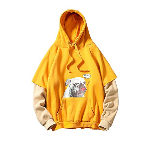 Luckycat Herren Herbst Winter Langarm Print mit Kapuze gefälschte Zweiteilige Pullover Tops Bluse Mode 2018