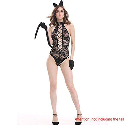 Gogogo Women Sexy Bandage Transparent Lace Lingerie Exotic Flower Sleepwear with Cat Ear Hairband Long Tail