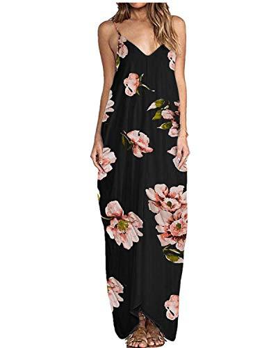 ZANZEA Sommerkleid Damen Ärmellose Maxikleid Blumen Langes Kleid V Ausschnitt Strandkleid Trägerkleid Casual B16090-Schwarz EU 46