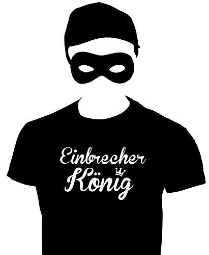 Kostüm Schwarz Einbrecher - EINBRECHERKÖNIG Dieb Kostüm Einbrecher Set Maske T-Shirt Cap schwarz Gr.140cm