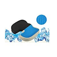 Joyevic Gel Seat Cushion Memory Foam Chair Pillow with Cooling Gel for Sciatica, Coccyx, Back & Tailbone Pain Relief - Orthopedic Chair Pad for Support in Office Desk Chair, Car, Wheelchair & Airplane