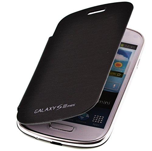 PhoneStar Flip Cover Schutzhülle Case für Samsung Galaxy S3 Mini i8200 in schwarz