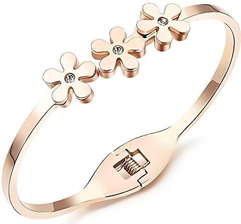 Fille Era Lovely trois petites fleurs Bijoux de manchette, plaqué or rose poli Bracelet à charnière Bracelet