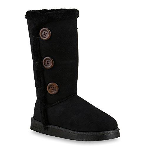 Schwarz Boots Knöpfe Schlupfstiefel Schuhe Winterstiefel Damen O6FWUZYcw