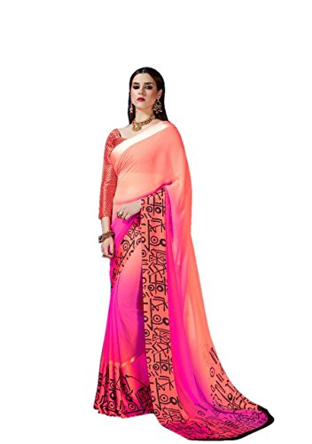 Radiance Star Women's Georgette plain saree With Printed Sartin Border New Arrival...
