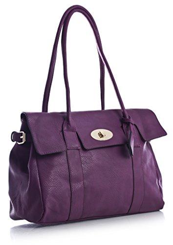 Big Handbag Shop Womens Faux Leather Designer Boutique Shoulder Bag 41n2XpuX9PL