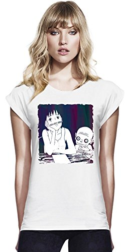 Momo Chilling At School Continental T-shirt à manches Rolled des femmes Small