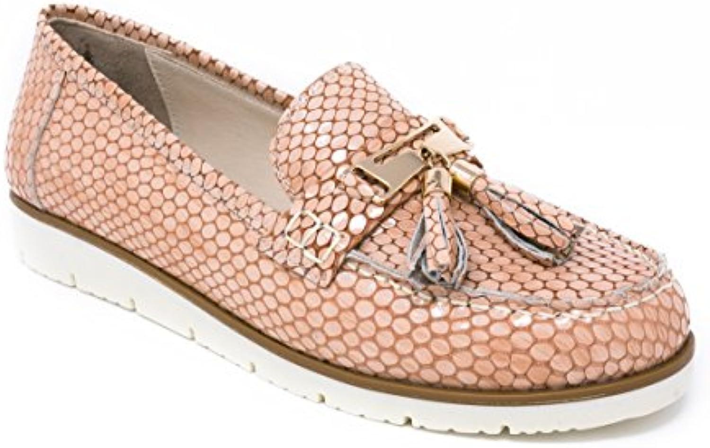 BOBERCK Coleccion Thea Zapato de Piso Bajo Estilo Nautico de Cuero Para Mujer (5 US, Rosa)