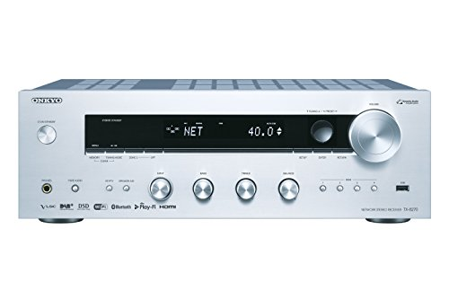 Onkyo TX-8270(S) Stereo Receiver (Bluetooth, WLAN, Musik-Streaming, Spotify, Deezer u.a., Internetradio, Multiroom (FlareConnect), DAB+ und UKW Radio, Stereo-Verstärker mit 160W/Kanal), silber