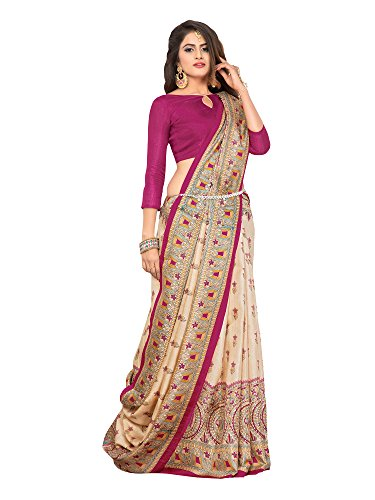 SAREE MALL art silk Saree With Blouse Piece (7MDB8771C_Beige_Free Size)