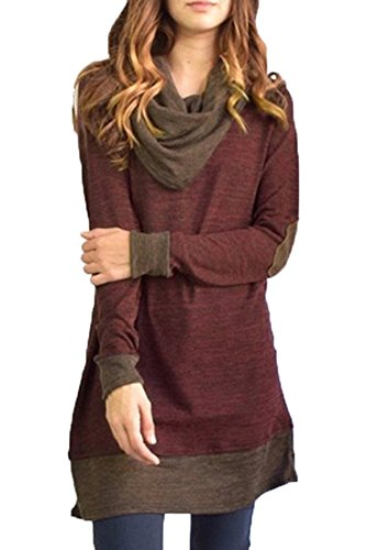 Freestyle Femme Sweat-Shirts Sweater Longue Manche Casual Haut Minirobe Chemisiers Sweats A-Ligne Robe Shirts Pullover Vin rouge