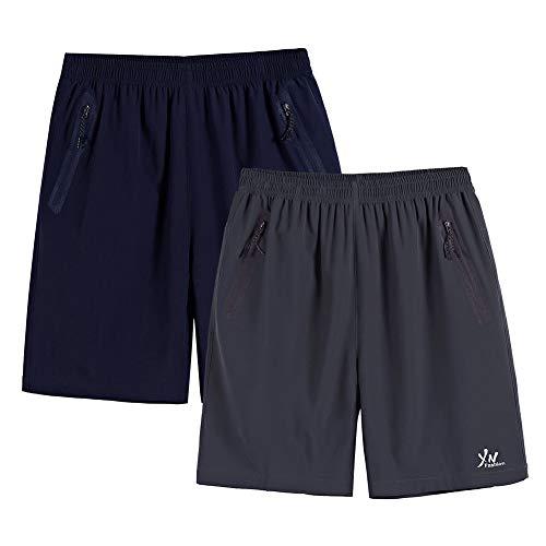 SXSHUN 2 Pcs Hombres Bañadores Talla Grande XL-10XL Pantalones Cortos de Secado Rápido con Bolsillos...