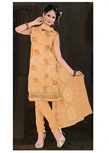 Indian Style Salwar Kameez Dupatta by Radhika Fashion Collection,Dress Material in yellow...