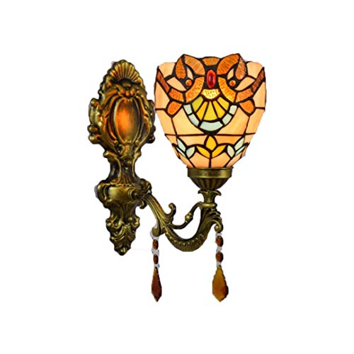 Tiffany Wandlampe/Handgefertigte Glaskunst/Barocke Wandlampe/Legierungs Sockel/5,9 Zoll Lampe E27,...