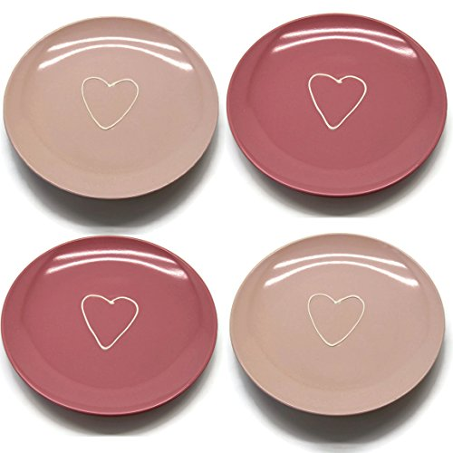 Bada Bing 4er Set Teller Herz rosa pink Kuchenteller 34343