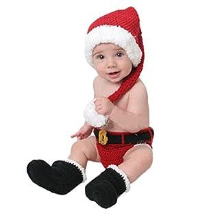 Ocamo Unisex bebé recién Nacido de Punto de Navidad Lindo Conjunto, Traje de Papá Noel, Gorro de Punto a Mano + Calcetines + Pantalones Conjunto de niños