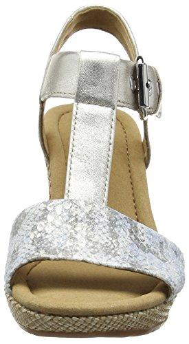 Gabor Karen - Sandales Compensées femme Argent (Silver Snake/Leather)
