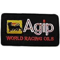 76 RACING GASOLINE Aufnäher Aufbügler Patch Motorsport Rennsport Oil USA weiß