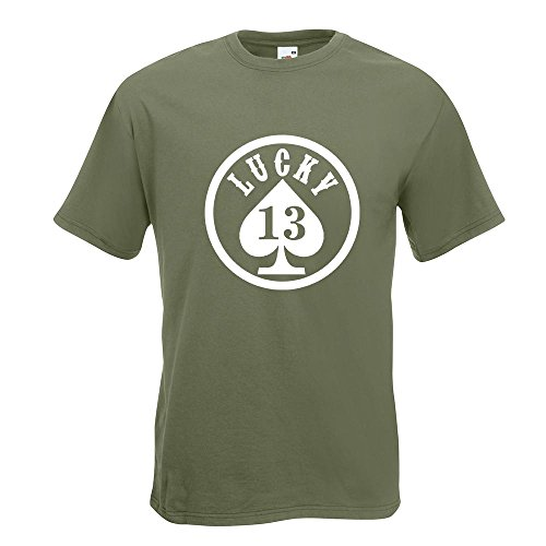 KIWISTAR - Lucky 13 T-Shirt in 15 verschiedenen Farben - Herren Funshirt bedruckt Design Sprüche Spruch Motive Oberteil Baumwolle Print Größe S M L XL XXL Olive