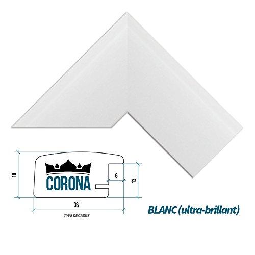 Bildershop-24 Cadre photo CORONA 80 x 90 cm - Blanc (ultra-brillant) - 7 Couleurs - Noir, Blanc, Hêtre, Brun foncé, Alu brossé - Mat brillant