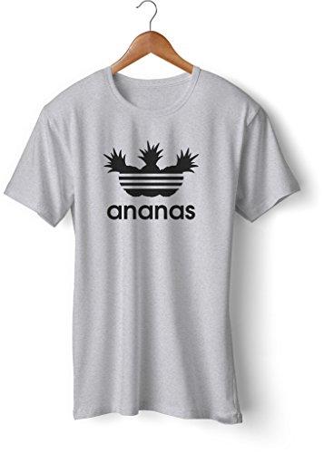 Fashion T-Shirt bedruckt, 190g mit Seitennaht, Fun Druck ananas Grau-Schwarz