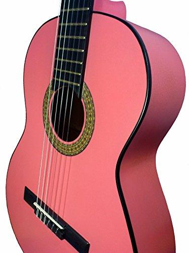 Marce Pink–Spanische Konzertgitarre-Studie in Pink lackiert, Kiefer Decke Box Mundharmonika aus Holz, Sapelly (dunkelgrau, ein perfíl Tönungsfolie in SCHWARZ, Aktion Baja. Erwachsenengröße). (Kiefer Decke-boxen)