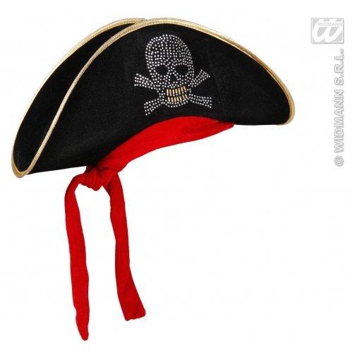 Widmann 2594K - Cappello da Pirata in Velluto con Teschio Borchiato e Bandana
