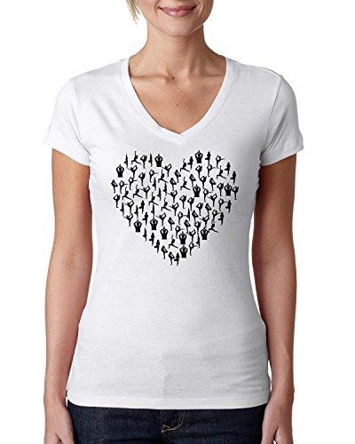 Yoga Love Heart Poses Logo Dope Dammen V-Neck Baumwolle t-Shirt Small - Heart V-neck Tee