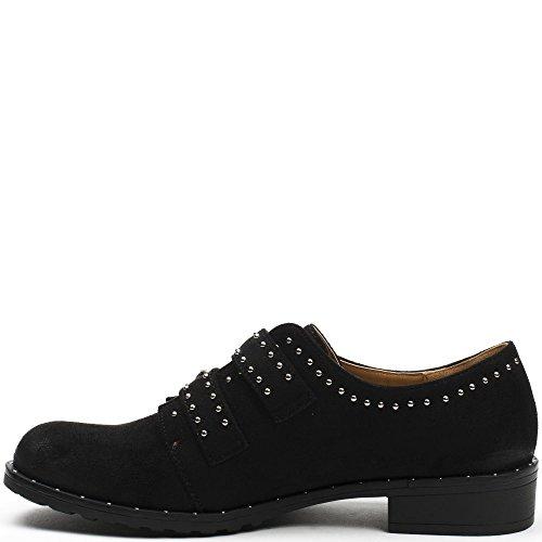 Ideal Shoes Derbies Effet Daim et Cloutées cyrille Noir