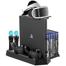 Soporte Vertical para PlayStation - ElecGear PSVR Stand, Ventilador de Refrigeración, controlador DualShock y Move Motion Estación de carga cargador, USB Hub, 14 Discos de Juego para PS4, Slim y Pro