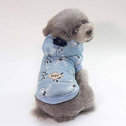 Welpen-Pullover Herbst und Winter neue Hundebekleidung Haustierbedarf Teddy Schnauzer Lady Jeansjacke (Farbe: Hellblau, Größe: M) Haustier Mantel (Farbe : Light blue, Größe : M) (Größe Mäntel Womens)