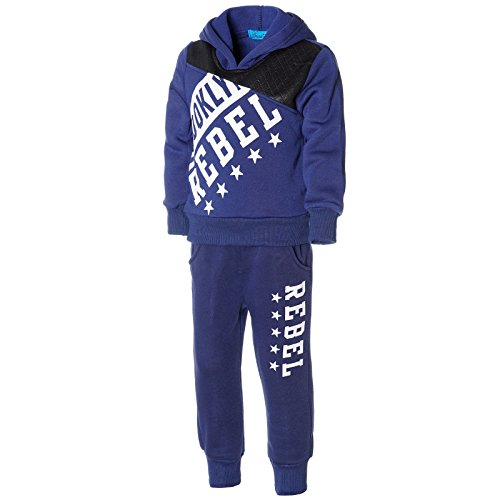 Kinder Hoodies Blau (Kinder Jogginganzug Junge Hoodie Pullover Kapuzenpullover Hose Sportanzug 21736, Farbe:Blau, Größe:104)