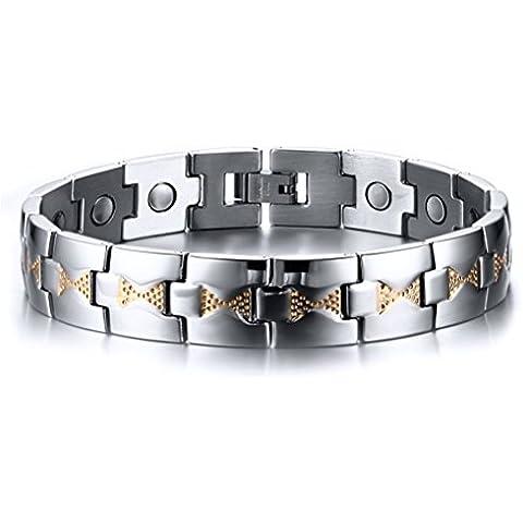Vnox Terapia Bracciale,22 centimetri 13 millimetri Uomo Acciaio nodo inciso il collegamento di polsino Wristband magnetico