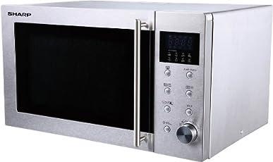 Sharp R-28STW Mikrowelle / 23 L / Silber / 800 W / +1 Minute Funktion / 8 Automatikprogramme / Drehknopf und Touchpanel Bedinung