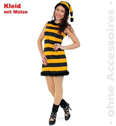 Kostüm Biene Bienenkleid Honey mit Zipfelmütze Größe (Fleißige Biene Erwachsene Kostüme)