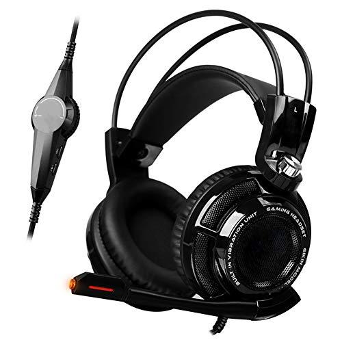 QAZX Cómodo Auricular para Juegos PS4 con micrófono Flexible micrófono con Ruido Iluminación LED para Xbox One Switch Orejeras de Memoria Suave-Black