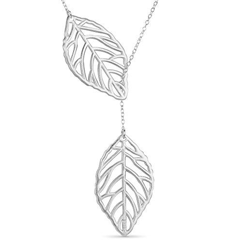 Sweetiee Mode filigrane aus Sterling Silber Lariat Halskette Halsketten mit Blaettern Anhaenger, Silber, 15.7