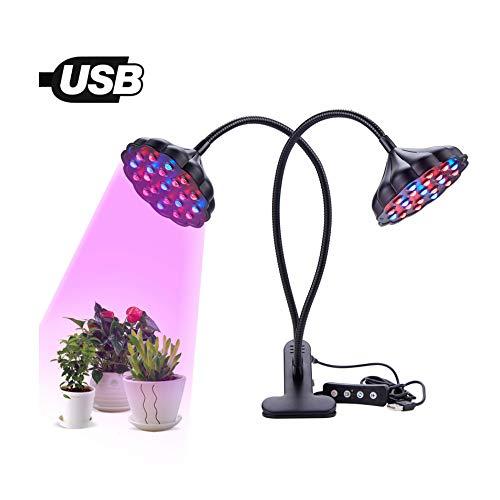 Y&XX LED wachsen Licht - wachsen Sie Licht für Zimmerpflanzen 20W mit Doppelkopf LED-Pflanzenlicht 360 ° verstellbares Flexibles Schwanenhals-Pflanzenlicht,Black