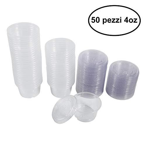 50 pezzi Plastica Trasparente TOPINCN Coppe Salsa usa a Getta Tazze Scatole con Coperchio Cibo Degustazione Tazza Stoccaggio Insalata Salsa Contenitore(4oz)