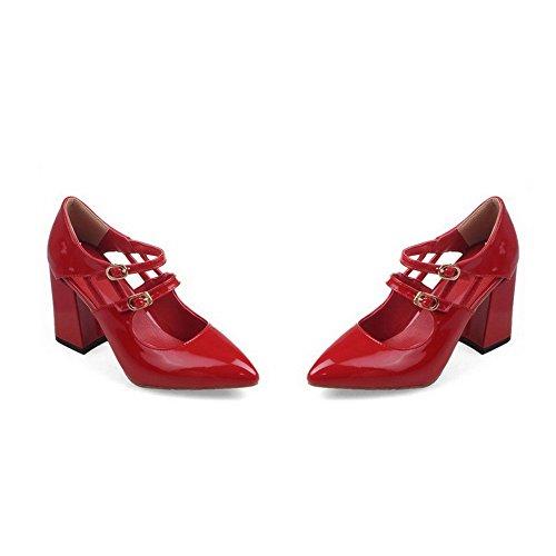 AllhqFashion Femme à Talon Haut Verni Couleur Unie Boucle Pointu Chaussures Légeres Rouge