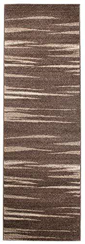 Tapiso Rasta Teppich Läufer Meterware Kurzflor Modern Meliert Zebra Streifen Beige Braun Design Flur Brücke Wohnzimmer Korridor ÖKOTEX 70 x 50 cm -